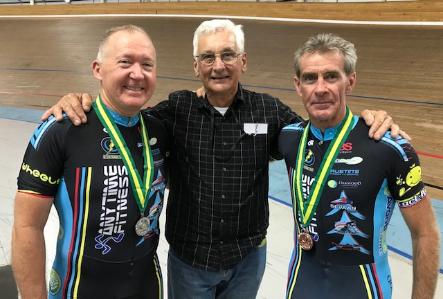 National Masters Track Championships 18 @ Melbourne - Graham Cockerton, John Crouchley (BiciSport Coach) and Mike Lawson.