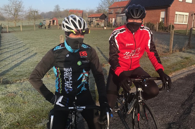 BiciSport in Flanders @ 21 Mar - Before a trip to see the De Panne Classic climb over the Kemmelberg cobbles both Mike & Brian ventured out early into the morning cold towards the Kluisbergen Rail Trail direction Koppenberg. Both riders rode over the Koppenberg.