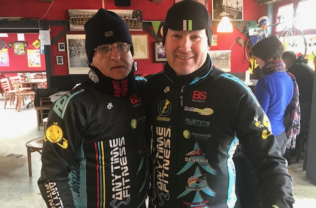 BiciSport in Flanders 18 @ 1 Apr - The Ronde day started with seeing the Women's event depart from the centre of Oudenaarde at 11.00am, then a quick dash to the Koppenberg Cafe at Melden for beer, soup & coffee (in that order). Melden hosted the Ronde Feed Zone after 120k. Left to right -Mike O'Reilly & Mike O'Brien at the Koppenberg Cafe