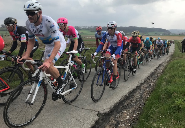 BiciSport in Flanders 18 @ 1 Apr - next stop was the Koppenberg. Picture above was taken just 750 metres before the start of the famous cobbled climb. In picture (left to right) is Greg Van Avermatt (BMC), Alexandre Kristoff (UAE), Sep Van Marke (EF Drapac) & Vincenzo Nibali plus helicopter.  Picture MO'R.