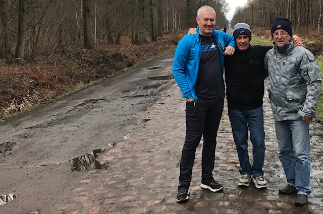 BiciSport in Flanders @ 5 Apr - a visit to the wet & greasy Arenberg Forest cobbles near Wallers where just walking was at times difficult. Mike O'Brien, Mike Lawson & Mike O'Reilly