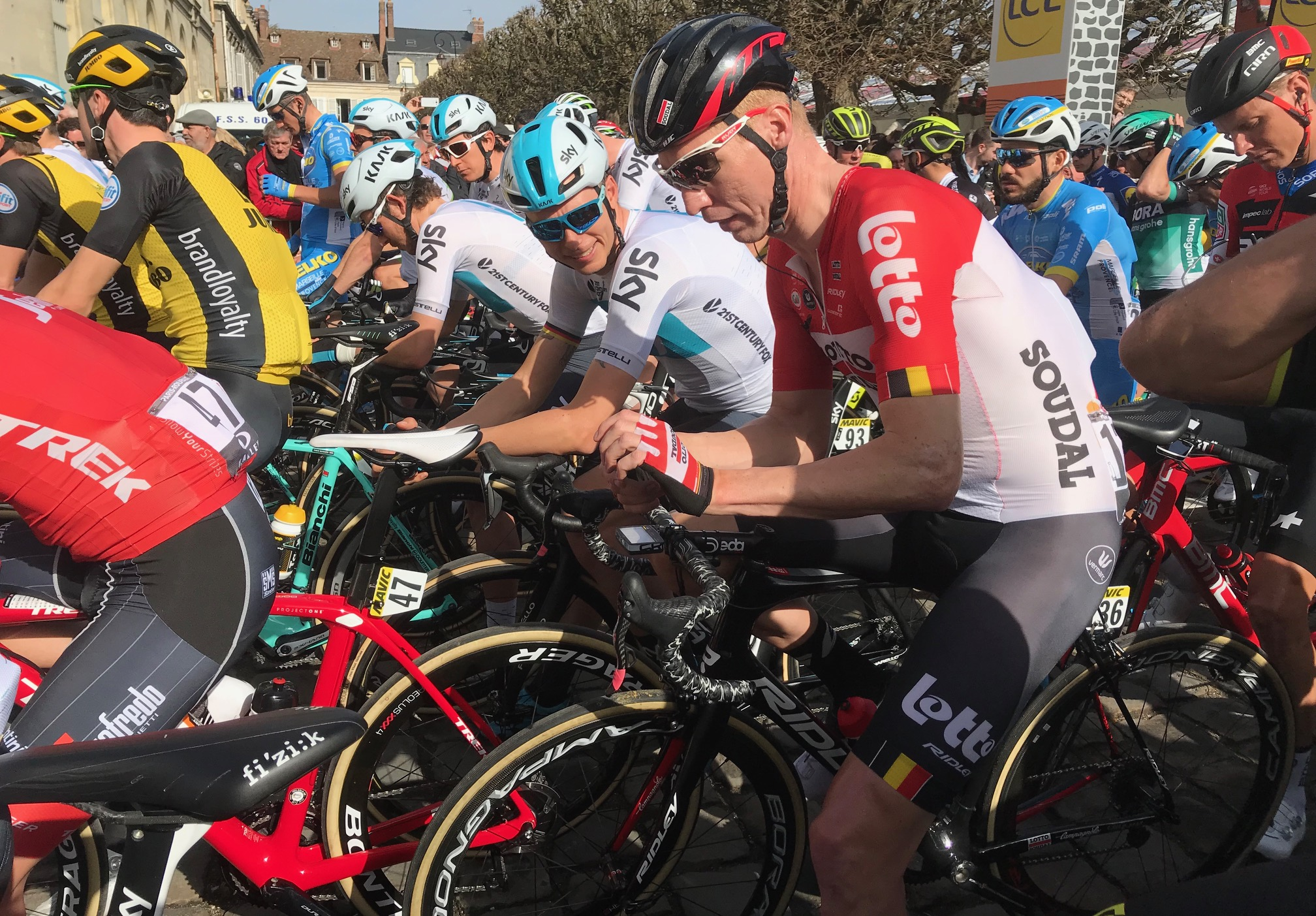 BiciSport in Flanders 18 @ Apr - on the Paris Roubaix start line at Compiegne.  Photo MO'R