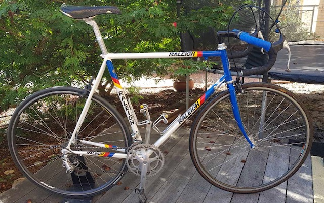 Completed Raleigh 1983 restoration loaded with a Campagnolo groupset on 6 speed wheels with Campagnolo gear down shifters