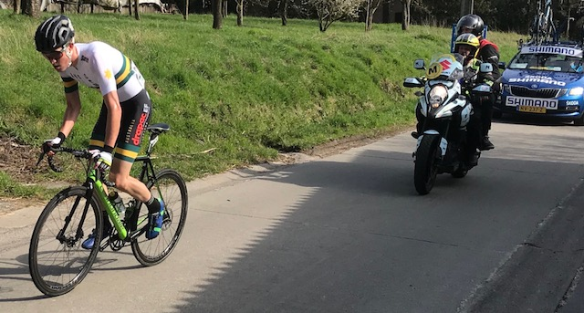 BiciSport in Flanders 18 @ 7 Apr - the Tour of Flanders for Under 23 National Teams is held the weekend after the professional race (and the day before Paris Roubaix). James Whelan (Australia) took a great solo win (above), before the Holleweg cobbles at Oudenaarde.  Photo MO'R