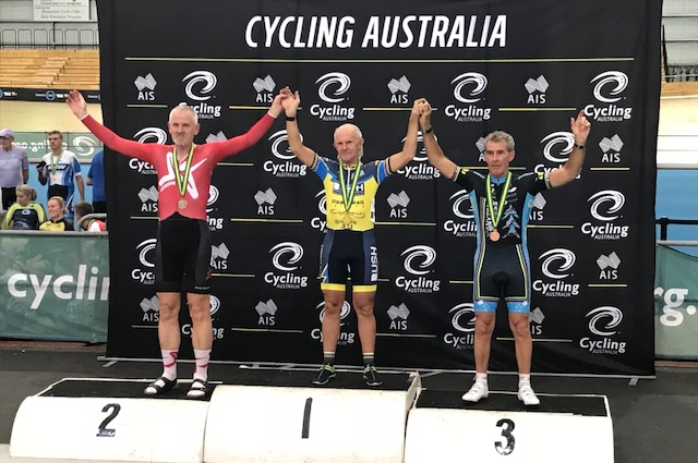 March 2018 - Mike Lawson finished 3rd in the Cycling Australia National Masters Track Championships held in Melbourne in the M7 Scratch Race