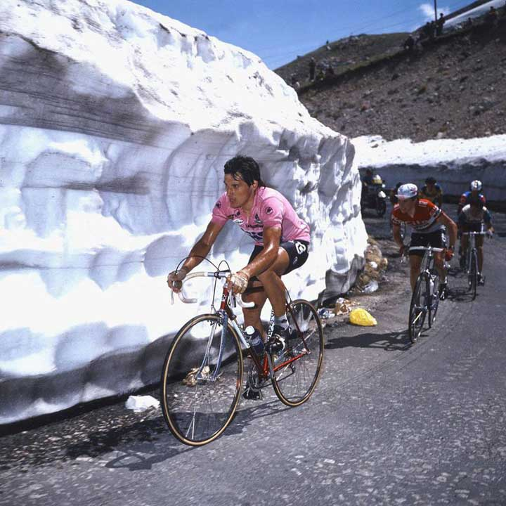 Giro d'Italia is on at present ... Beppe Saronni leads the 1982 edition over the Stelvio Pass