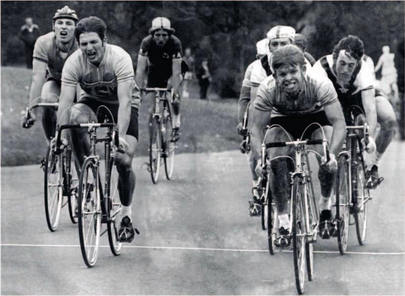Cycling Australia National Elite Road Championships 1971 in Centennial Park in central Sydney. Ray Piper (NSW) defeats Dick Paris (NSW) with Clyde Sefton (Vic) in 3rd place. Note the no compulsory helmets & race jerseys that had front pockets