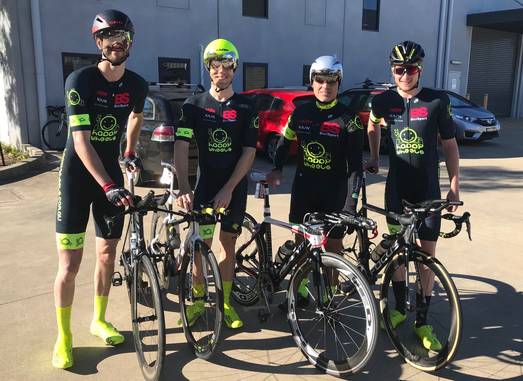 Nowra Team Time Trial Championships @ 21 July - The BiciSport Happy Wheels team finished 5th in the Sassfras Challenge. L to R ... Will Peters, Patrick Conway, Dominic Zumbo & Conor Tarlington