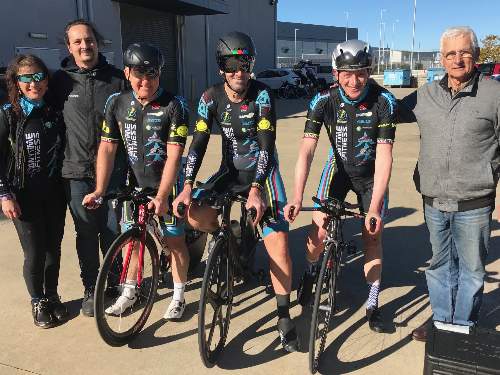 Nowra Team Time Trial Championships @ 21 July - BiciSport Sassafras Challenge Mens team ... L to R  Darren Crouchley (Mechanic), Graham Cockerton, Stewart Campbell, Tom Green & John Crouchley (Manager). Rhett Hall (not in photo). The BiciSport Anytime Fitness team finished 3rd.