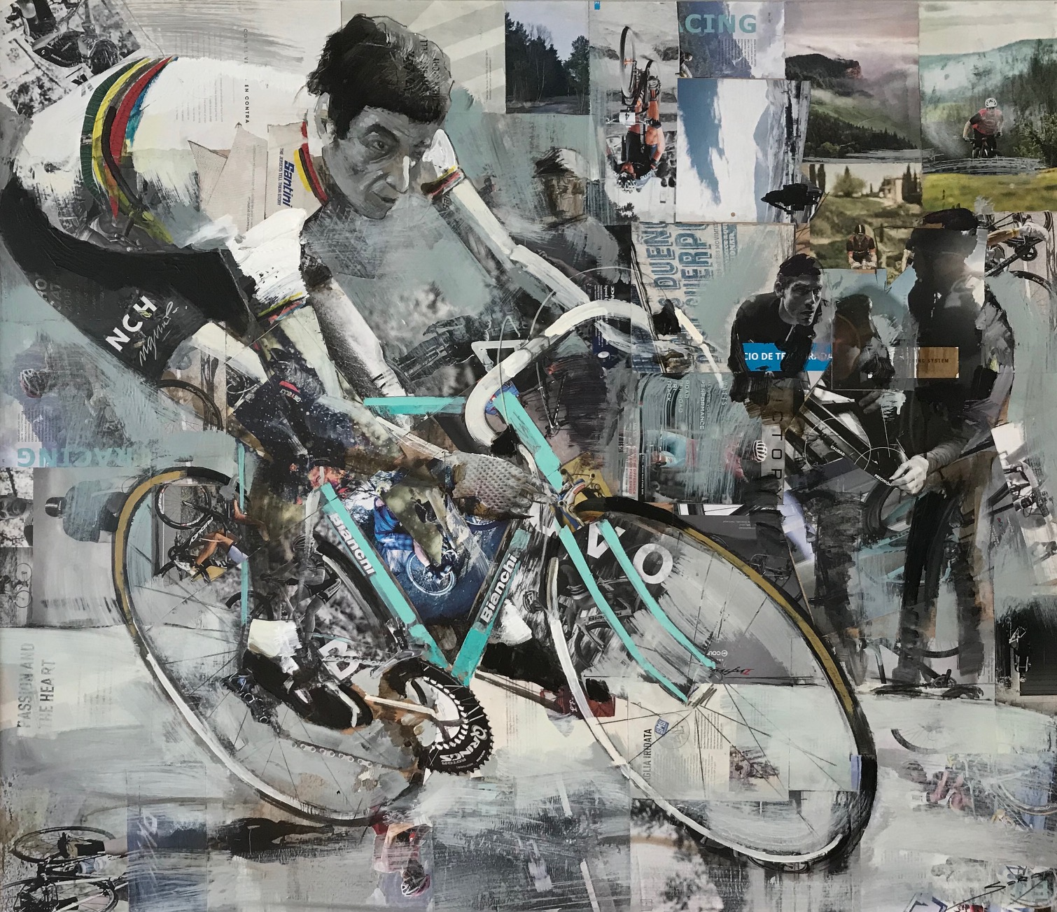 The Bianchi Cycling Cafe in Milan features a portrait of Felice Gimondi in action