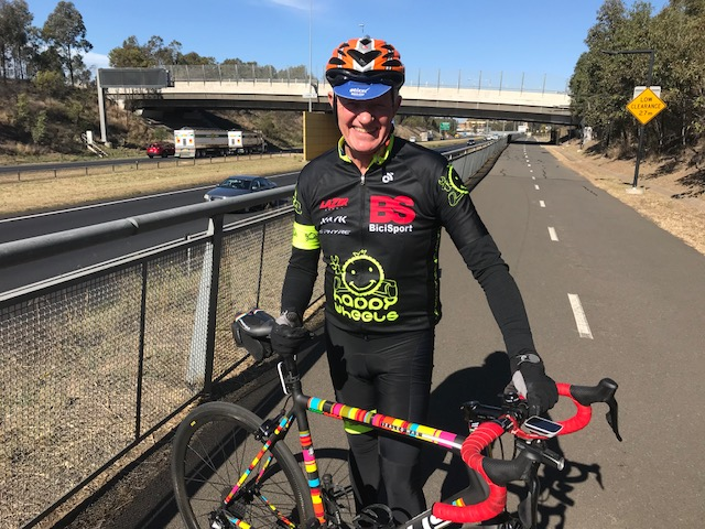 Peter Davis (BiciSport) on the M7 cyclepath near Prestons towards Campbelltown