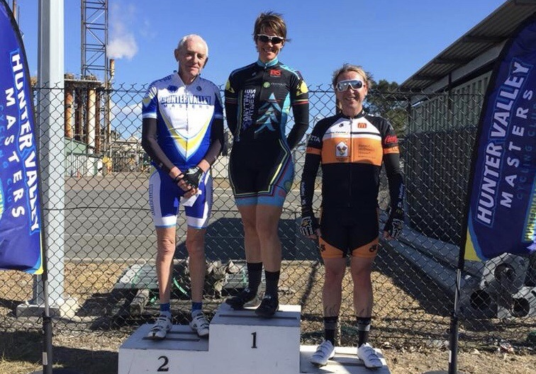 Kooragang Island (Newcastle) @ 19 Aug - Ruth Strapp (BiciSport Anytime Fitness) took her first win in Hunter Valley Masters C grade in heavy wind conditions