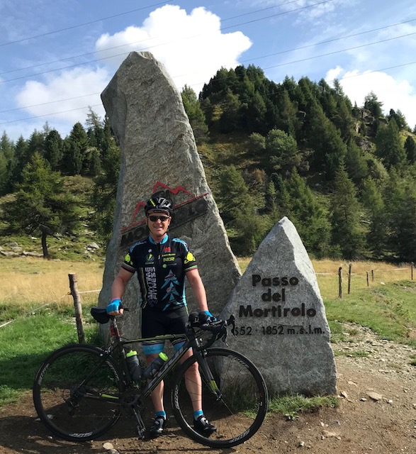 Mortirolo Pass (Italy) outside Bormio @ 26 August - Peter Budd at the summit