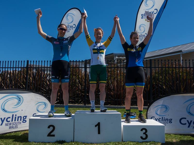 NSW Masters Road Championships @ 23 Sept - Cath Haines with Silver in the W3 Criterium