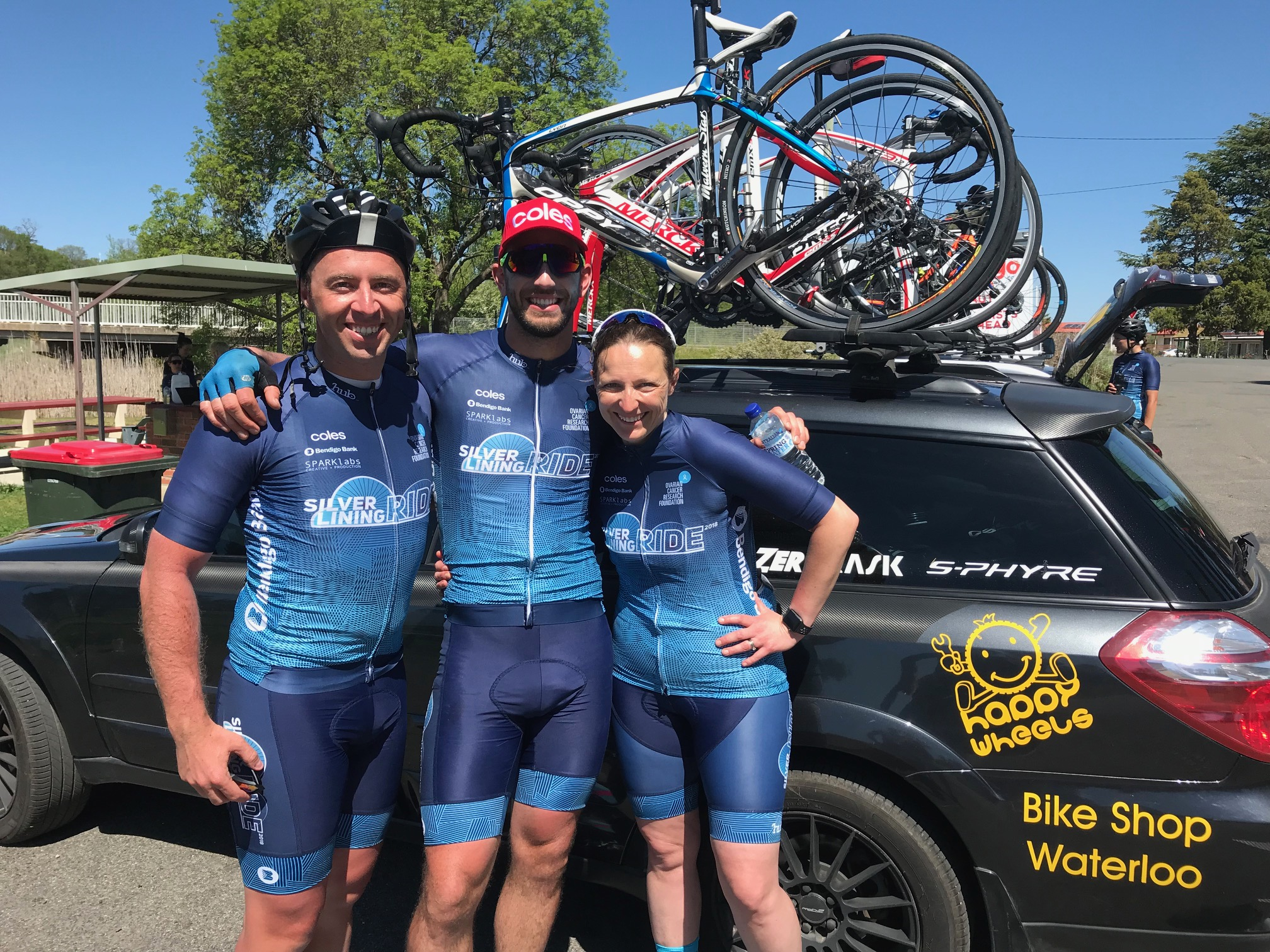 Silver Linings Charity Ride @ Gunning @ 22 Oct - Clint Stanaway left (Channel 9 Presenter in Melbourne) with Georgie Herbert right