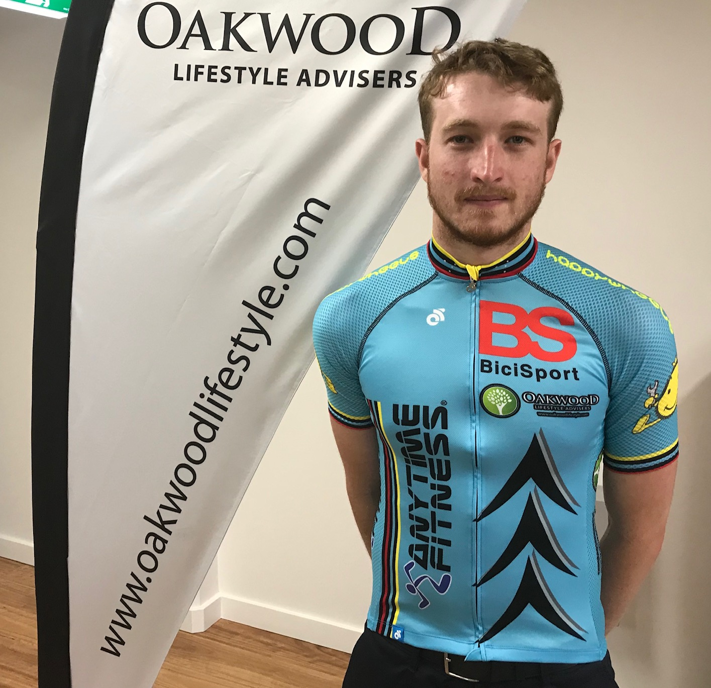 Conor Tarlington with the new summer style all blue BiciSport jersey