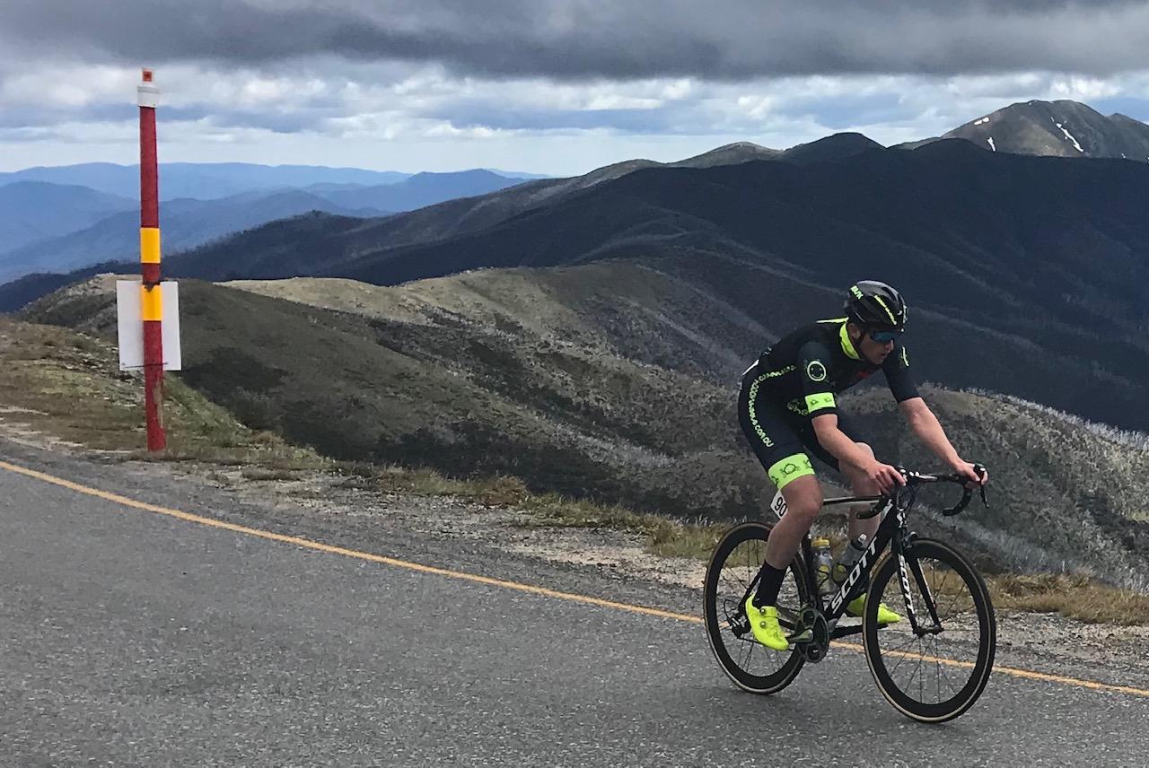 Tour of Bright 18 @ 2 Dec - Conor Tarlington on top of Mount Hotham