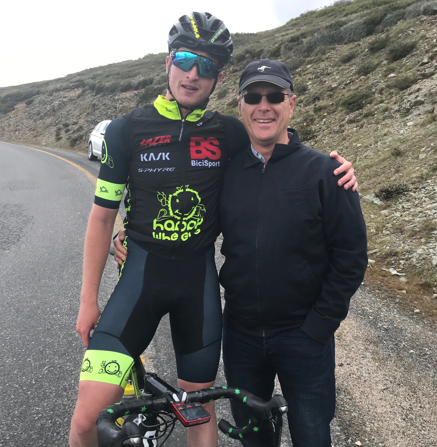 Tour of Bright 18 @ 2 Dec - Conor Tarlington with BiciSport Team Manager Peter Budd on Mount Hotham