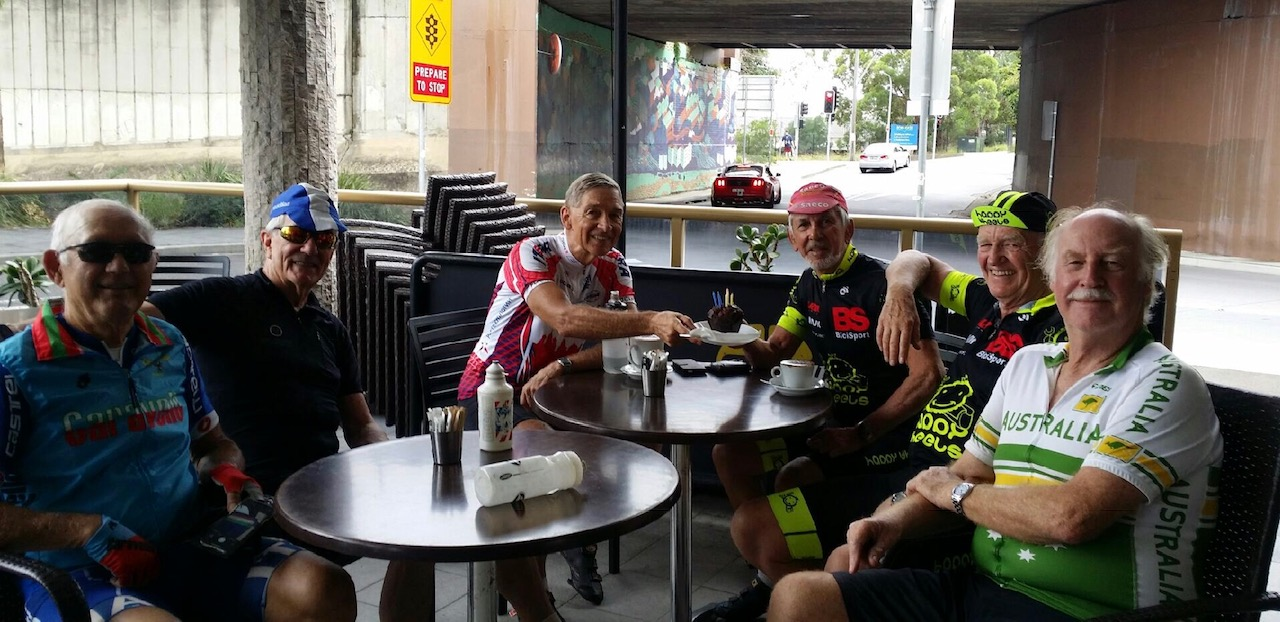 Noel La Rose (BiciSport Master) turned 81 years young and celebrated with an 81k ride around the Homebush-Rhodes precinct. L to R - Dom Caravello, John Lee, Joc Young, Noel La Rose, Peter Davis & Lyle Baird
