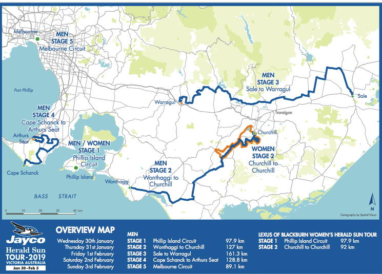 The 2019 Herald Sun Tour this year is based in Gippsland with a start on Phillip Island, with stage finishes at Churchill, Warragul & Arthurs Seat. The final 90k criterium is in central Melbourne. The HST features Ritchie Porte & Team Sky.