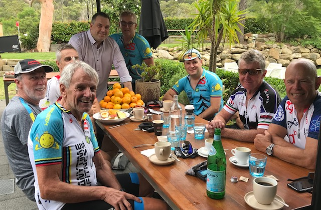 Vinney ( The 11 Cog ) Panetta hosts the BiciSport Saturday coffee peloton on 19 January at the Miramare Gardens cafe off Myoora Rd Terrey Hills from 9.30am.