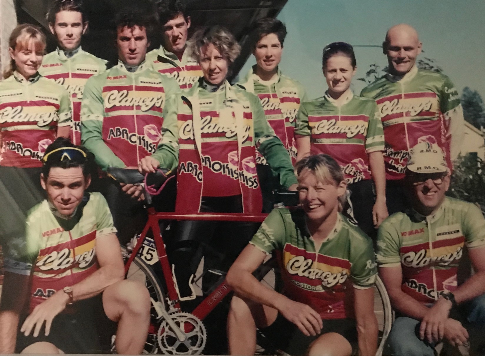 In 1994 and the White Pages Tour @ Bundanoon to Canberra Stage Race - Northern Sydney CC team was sponsored by Clancys Foodstores & Abrokiss (hence the red lips) with both a womens & mens team that included Rachel Appleton, Steve Stannard (front), Phil Chapman, Laurie Vignes, Ben Litchfield, Rhonda Craigie, Nadia Frischkneckt, Lucy Lykke, Bruce Boulton (masseuse), Catherine Dawson (front) & Mike O'Reilly (DS)