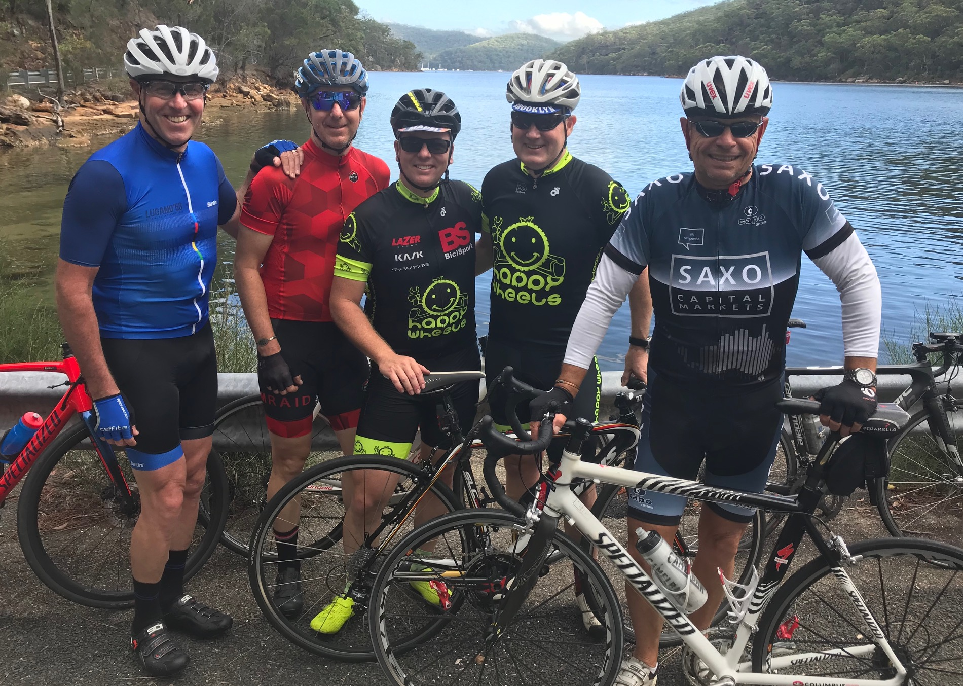 Spotted at Akuna Bay @ 23 Feb - (L to R) … Neil, Andrew 'Macca' McLean,  Davide  Browne, Mike O'Brien & Neil Farquahson. Mike O'Brien being on a brief Aussie sojourn from the UK getting in some secret base training for the upcoming BiciSport Belgian Spring Classics trip with both Mike Lawson & Marty Wright.