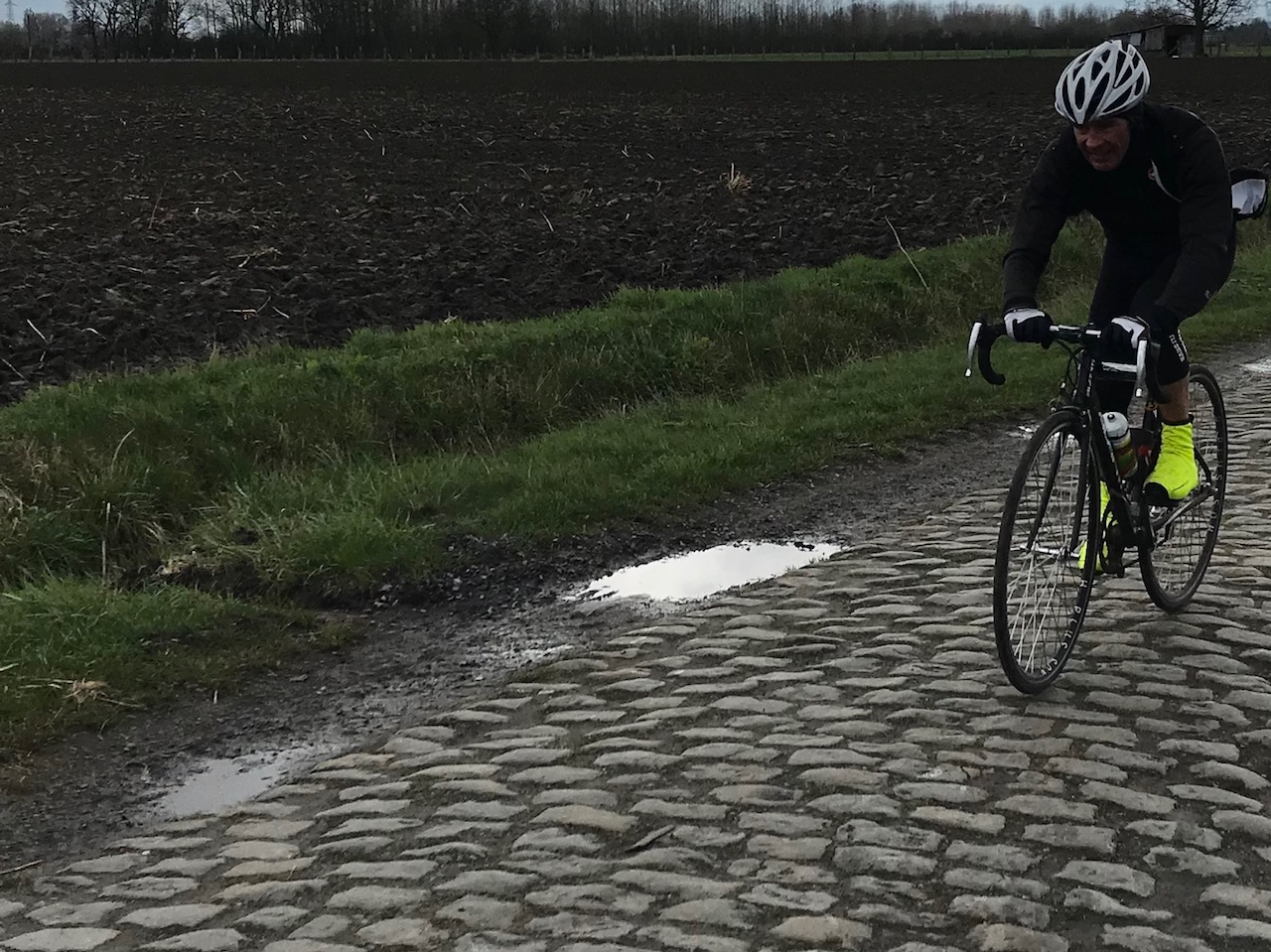 Mike Lawson (BiciSport) pictured above swaps the roads of Paris Roubaix 2018 for Tuscany gravel at the Eroica Challenge near Siena on 9 March