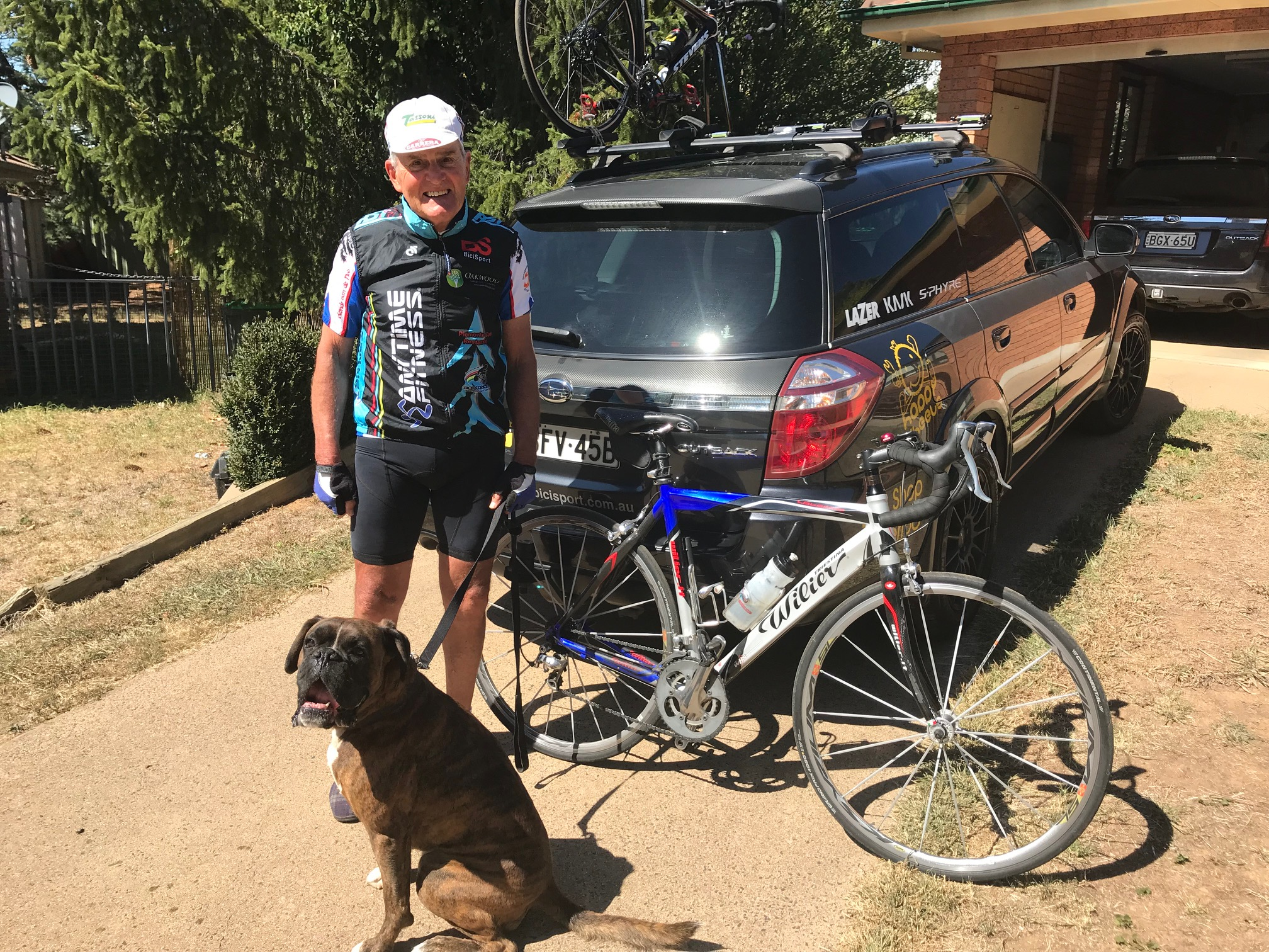 Orange NSW @ 1 Mar - David Cooper and Sonny Boy spotted in Orange before a local training ride last Friday. David was one of the original BiciSport founding fathers from 1995 and now resides in Orange and a Level 1 CyclingNSW Commissaire.