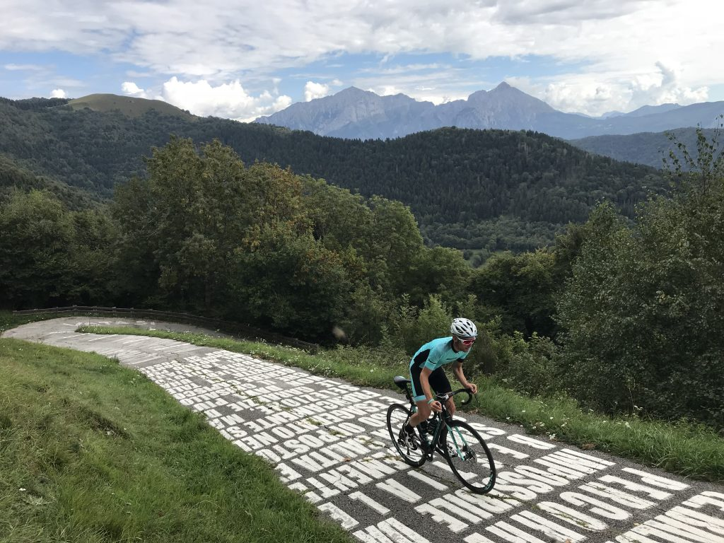 BiciSport in Italy  - The BiciSport team arrives in Bellagio on 19 March with the Sormano Wall outside Bellagio on Lake Como remaining a most challenging experience. The Sormano road itself was recently reconstructed and the narrow lane is restricted to 'cyclists only'.