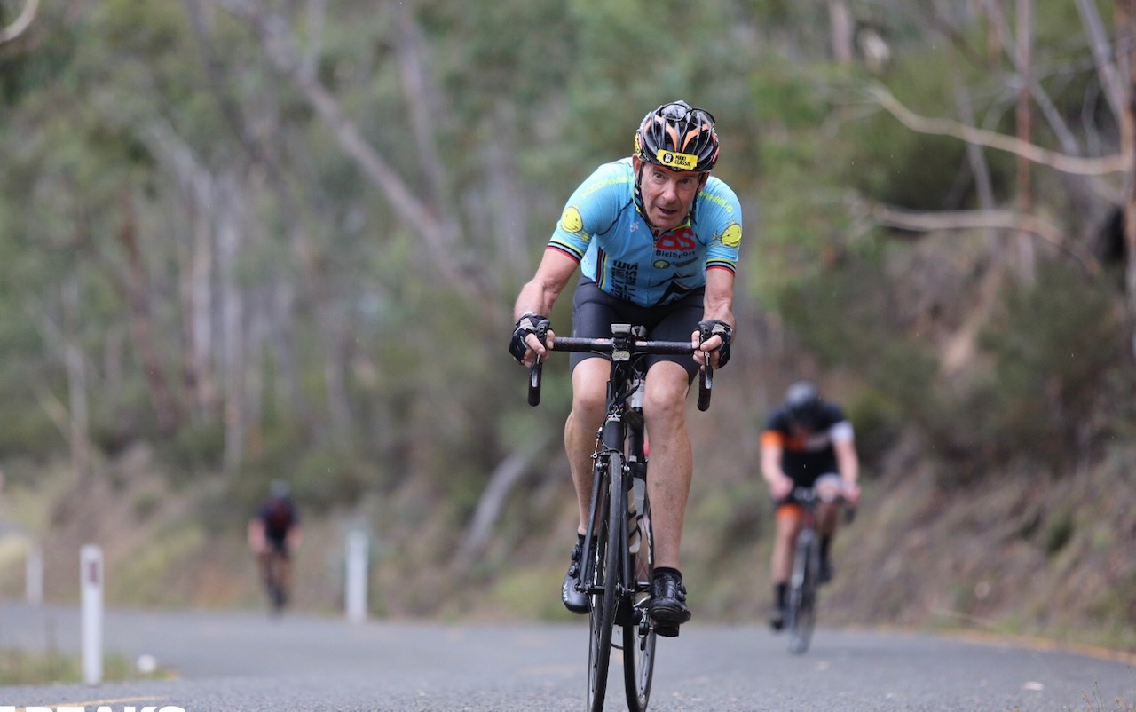 3 Peaks Challenge Mar 2019 - Michael Taylor (BiciSport Master) climbing through the WTF Corner outside Omeo
