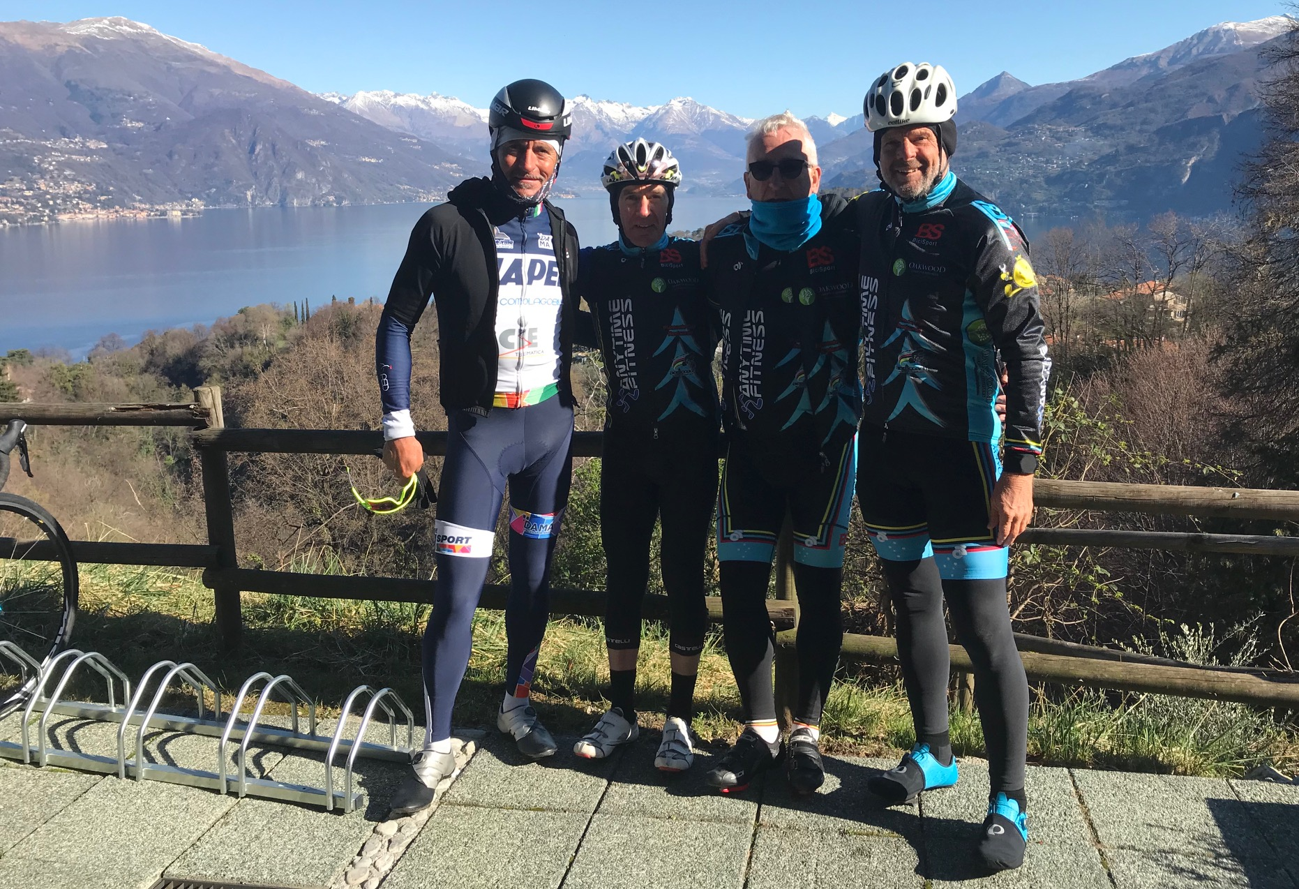 IL Perlo Hotel @ 20 Mar -  before the BiciSport ride start (L to R) - Alberto Elli, Mike Lawson, Mike O'Reilly & Marty Wright
