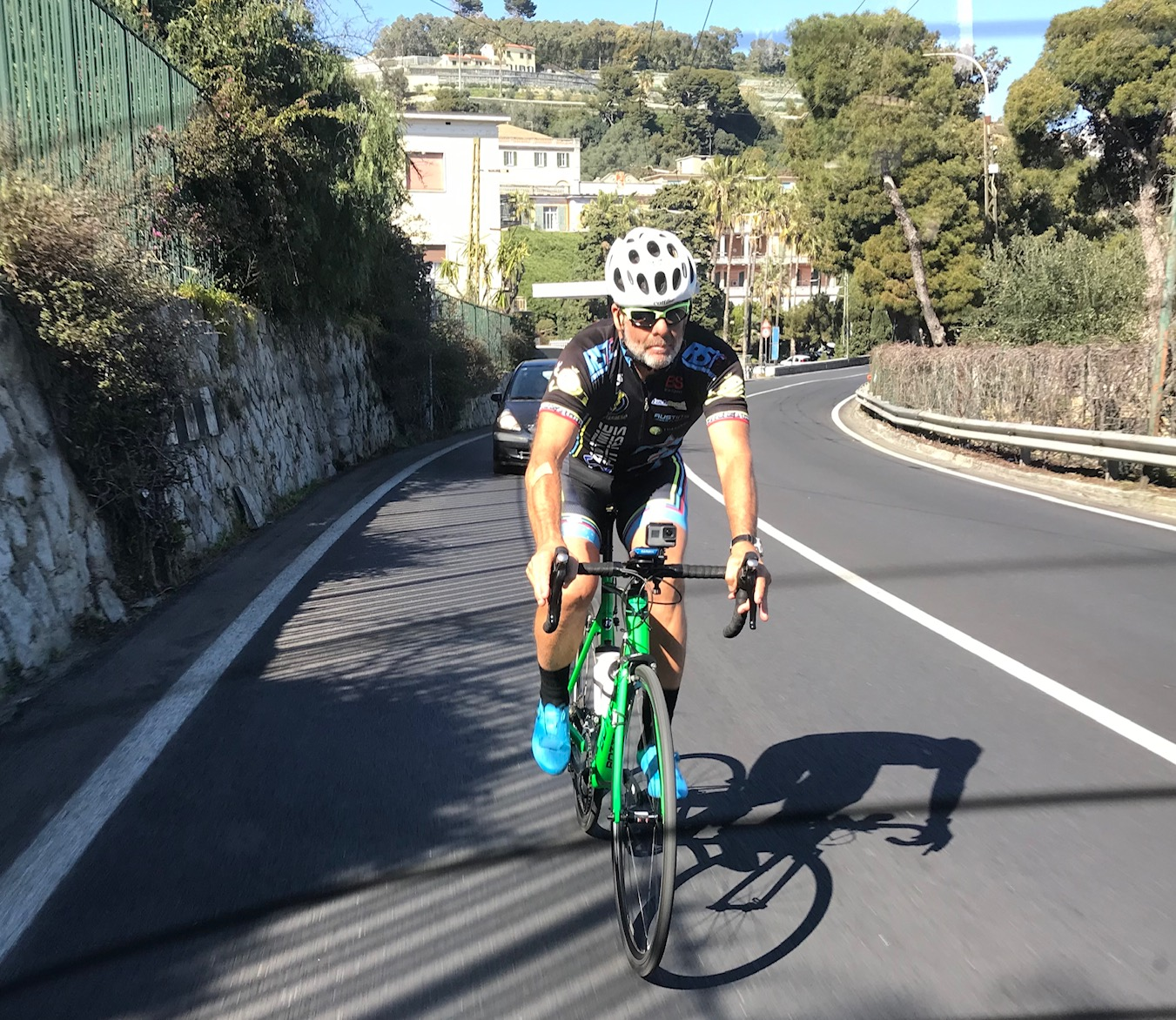 Milan San Remo Ride @ 23 March  - Marty Wright approaching the Poggio climb