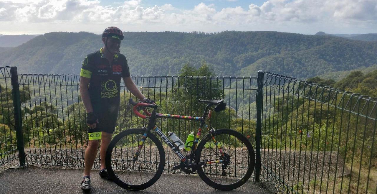 Springbrook climb behind the Gold Coast @ 19 April  - Peter Davis (BiciSport Happy Wheels) at the summit