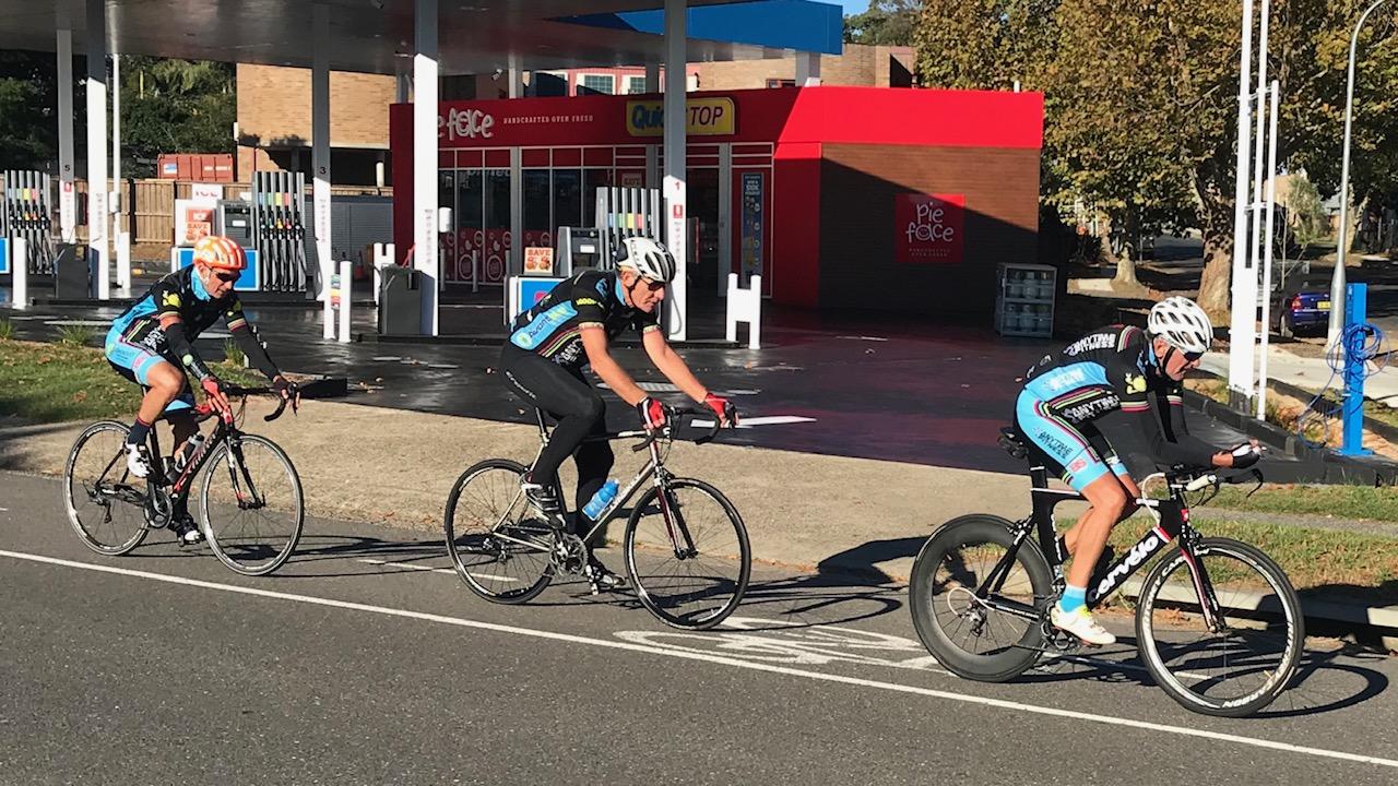 BiciSport TTT training @ Terrey Hills @ 28 April -  L to R … Graeme Cocks, Raoul Westbrook & Ian Grainger