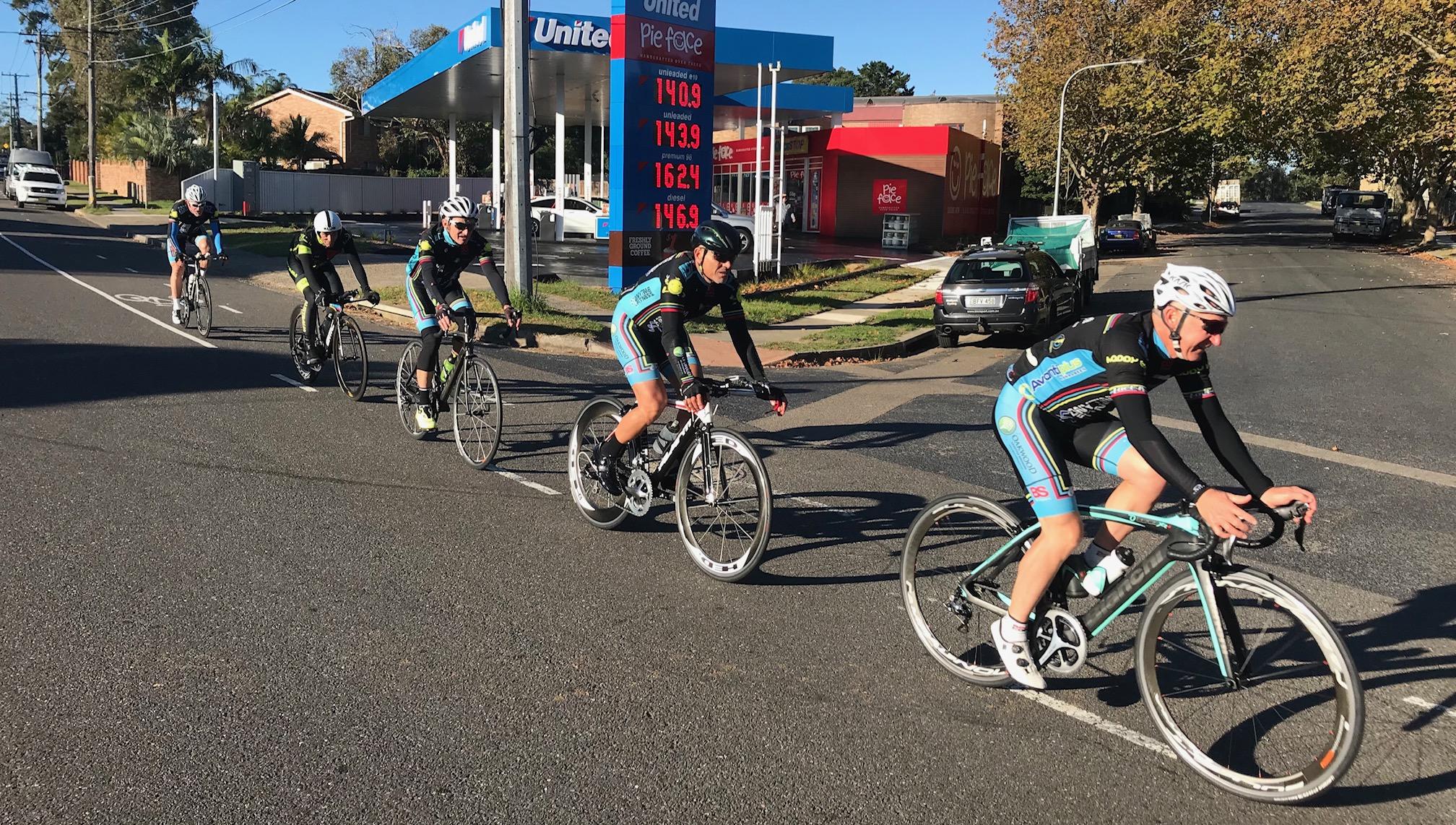 BiciSport TTT training @ Terrey Hills @ 28 April -  L to R … Len Groen, Randolph Baral, Eric Dole, Dom Zumbo & Graham Cockerton