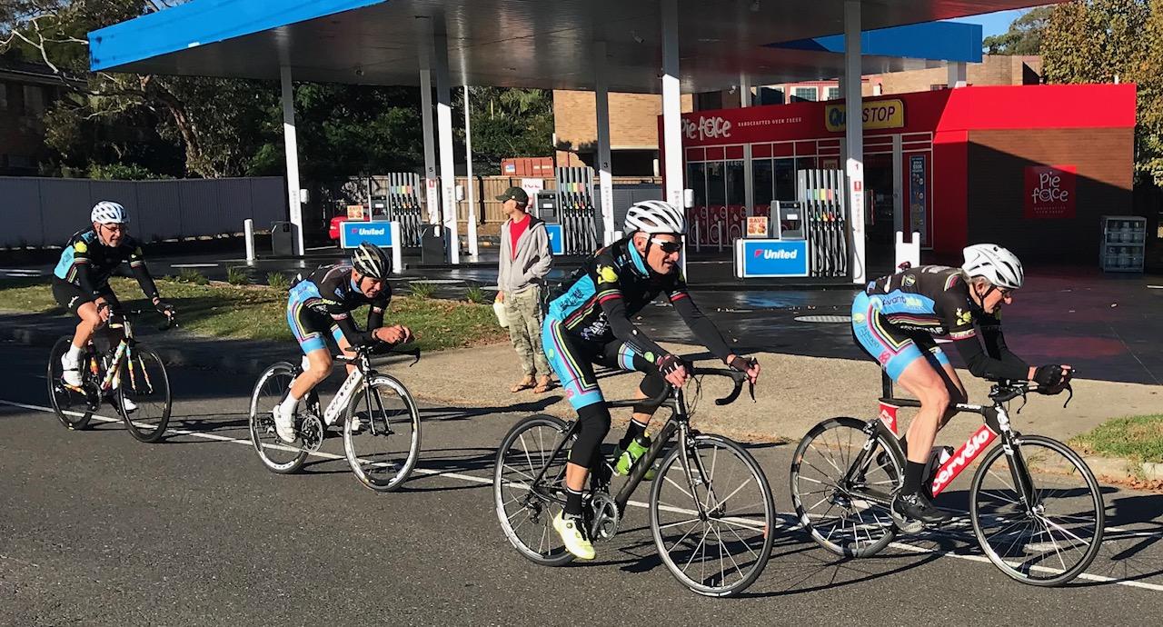 BiciSport TTT training @ Terrey Hills @ 28 April -  L to R … John Robb, Mike Lawson, Eric Dole & Peter Verhoeven