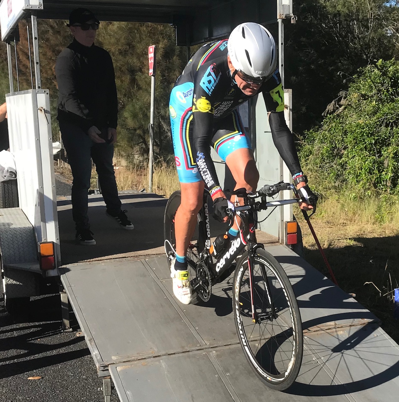 ATTA ITT @ Calga @ 5 May  -  David Browne  (BiciSport) is the ATTA starter out of the ITT ramp, with  Ian Grainger  a study of concentration