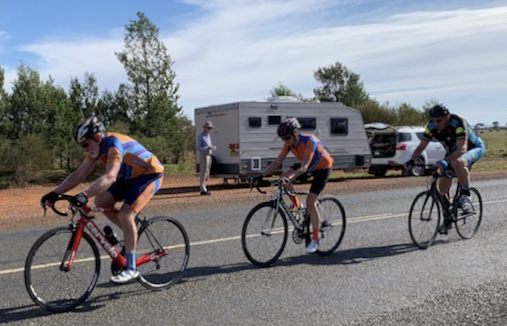 Dean Carter Interclub @ Griffith @ 19 May - Frank Signor  tops the KOM in the big chainwheel no less with just 7k to the finish