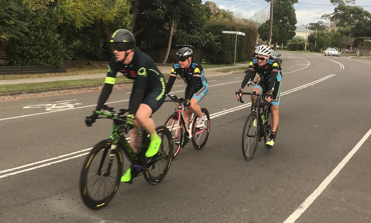 BiciSport TTT training @ Terrey Hills @ 26 May - L to R … Stewart Campbell, Graham Cockerton & Eric Dole (hidden is Randolph Baral behind Eric)