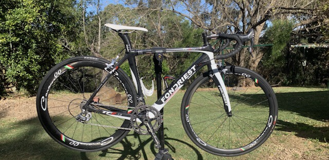 "For Sale - Fondriest (Italian) 52cm loaded with Campagnolo 11 speed groupset @ $1,500 ono . In immaculate condition, never crashed, ""only ridden to Church Point on a Sunday"" says current owner Ken Edwards. Feel free to contact Ken on 0412 261 422."