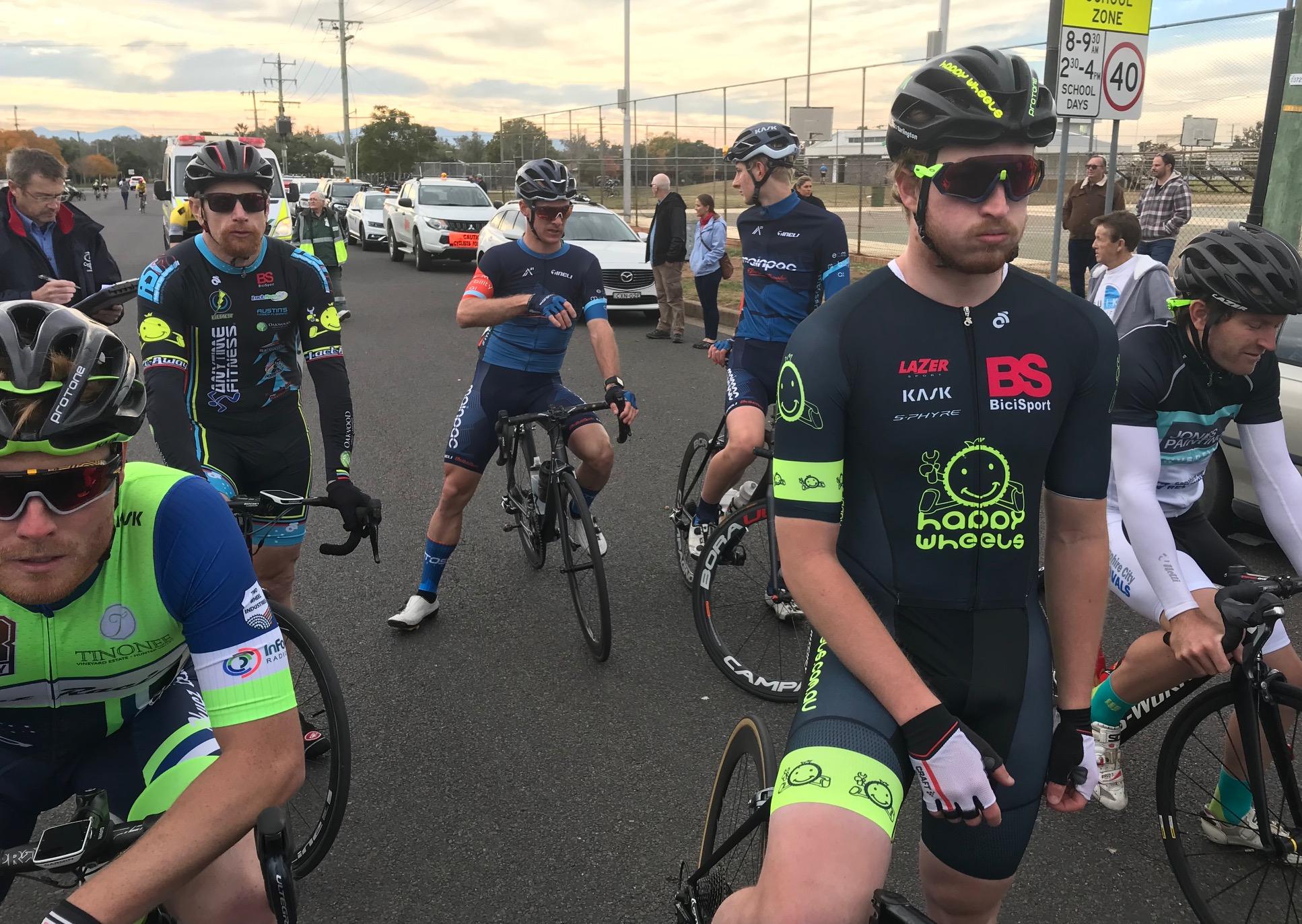 Gunnedah Tamworth Road Race @ 16 June - Division 2 start line with Rhett Hall & Conor Tarlington