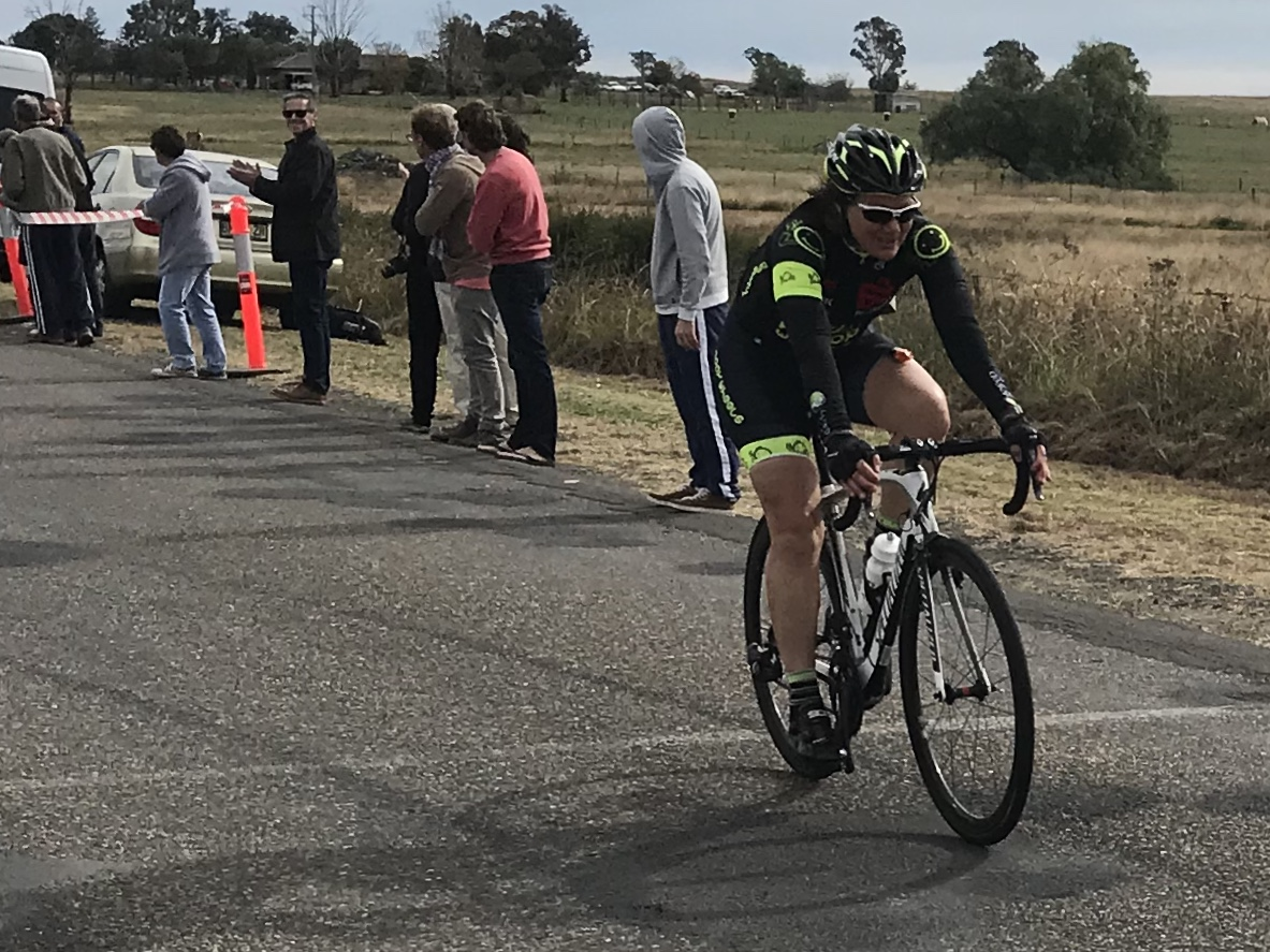 Gunnedah Tamworth Road Race @ 16 June - another great result by Ruth Strapp as she crosses the line in Division 4