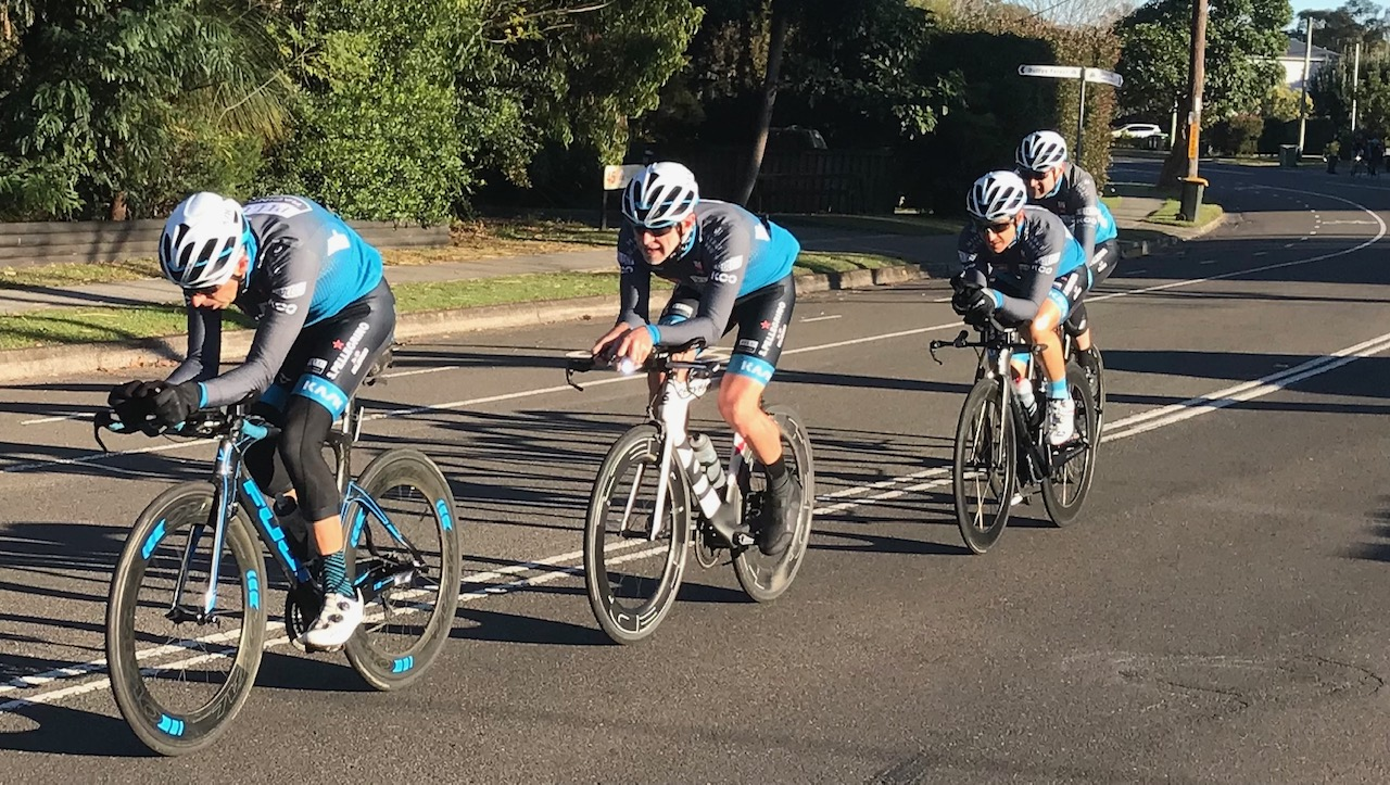 BiciSport TTT Training @ Terrey Hills @ 30 June - Jordan Reizes leads the Pilu Racing Team