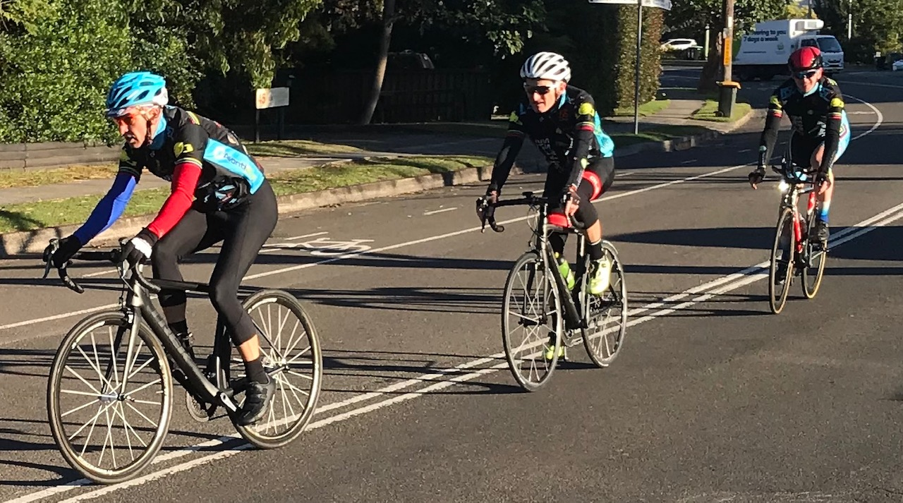 BiciSport TTT Training @ Terrey Hills @ 30 June - Sean Mura leads Eric Dole & Tom Green
