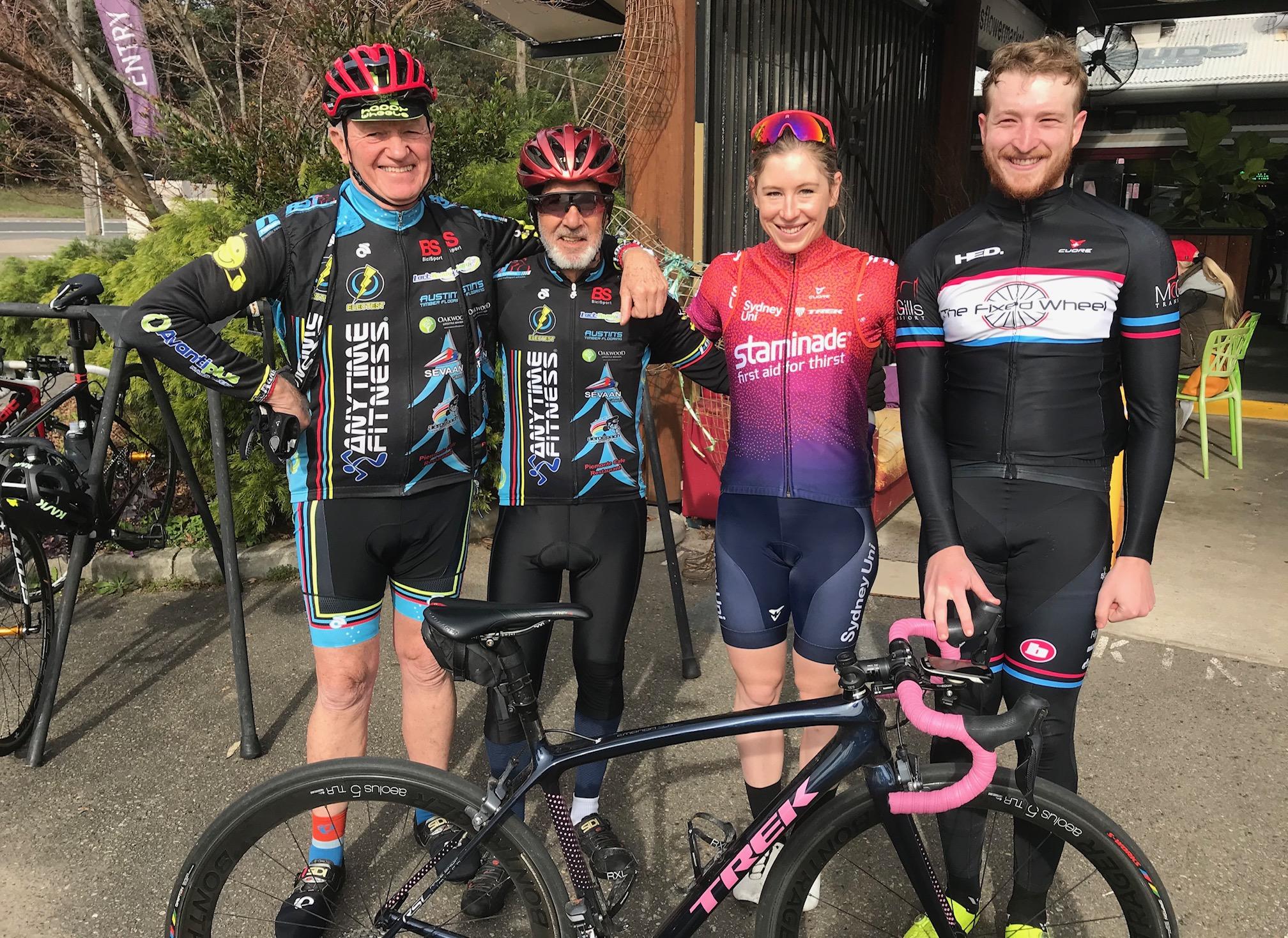 BiciSport @ Hills Nursery Terrey Hills @ 28 June - Peter Davis, Noel La Rose (81 years young), Georgie Whitehouse & Conor Tarlington (BiciSport Happy Wheels)