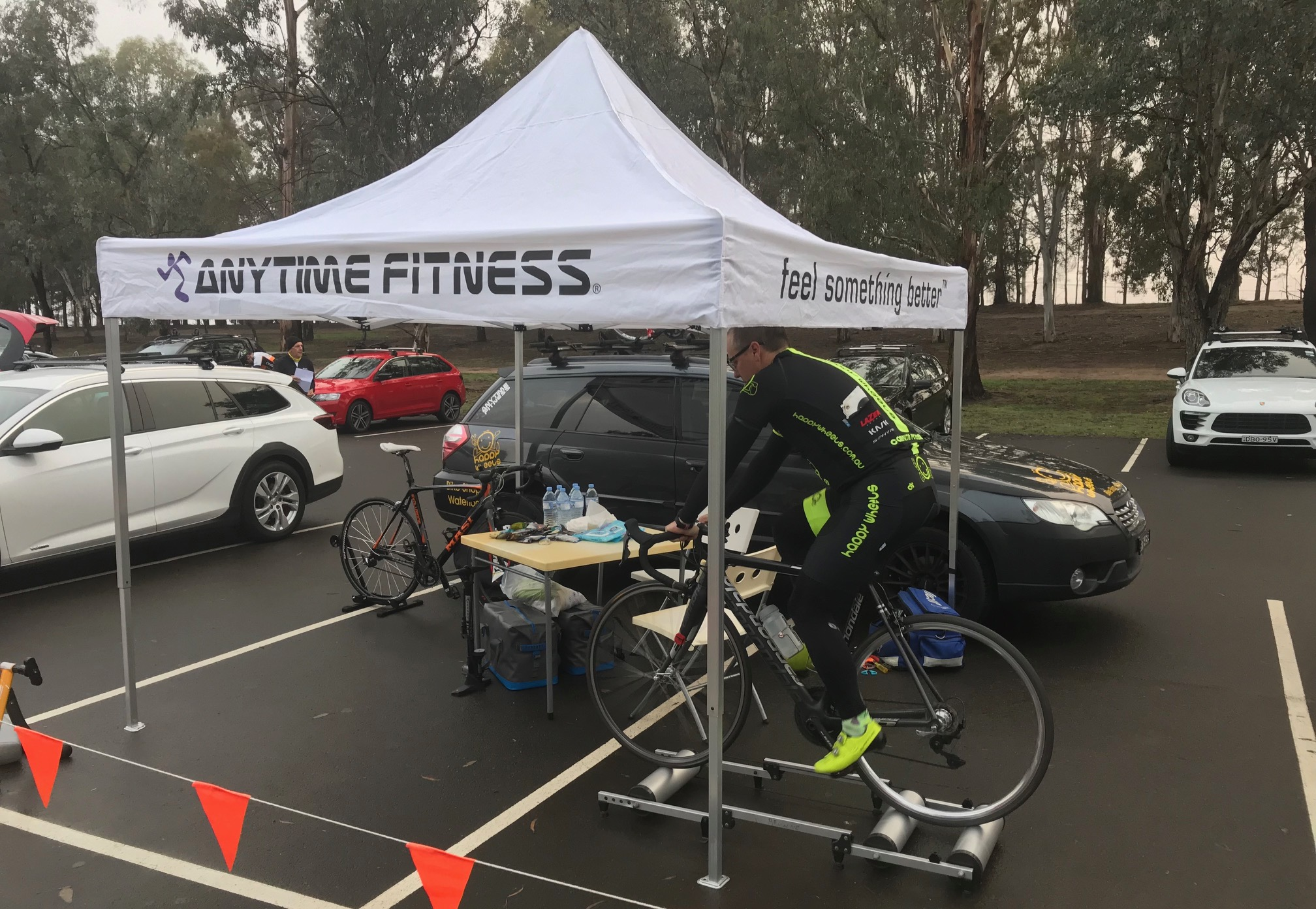 Metropolitan Championships @ Penrith Lakes @ 6 July - Many thanks to Karl Hoad and Anytime Fitness for providing the new AF gazebo at Penrith Lakes with Davide  van der  Browne in session for the Ghent 6 Day in November on the rollers