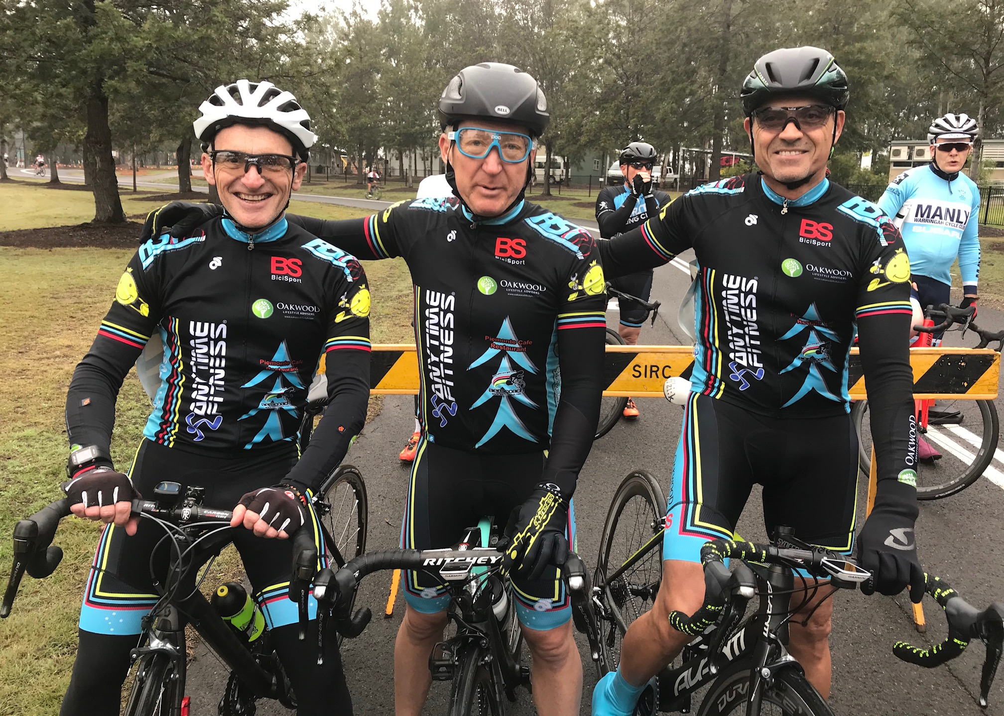 Metropolitan Championships @ Penrith Lakes @ 6 July - M6 category start with (L to R) Eric Dole, Graham Cockerton & Dom Zumbo