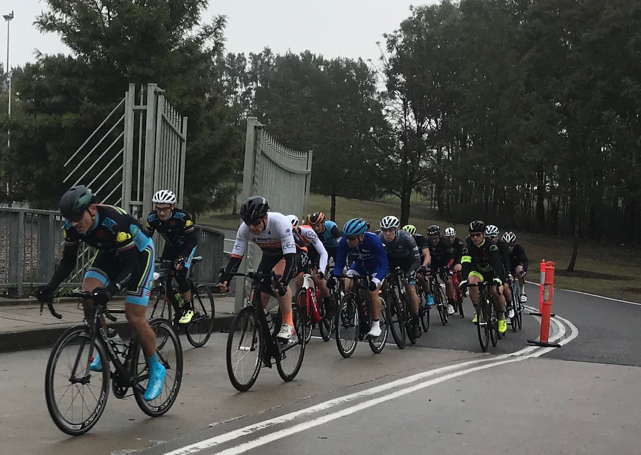 Metropolitan Championships @ Penrith Lakes @ 6 July - M6 category mid race action with Dom Zumbo forcing the pace (in blue overshoes) from Eric Dole (in white helmet), Matt Coy (centre, white helmet) and Peter Budd (yellow fluoro shoes). Conditions were damp & tricky.