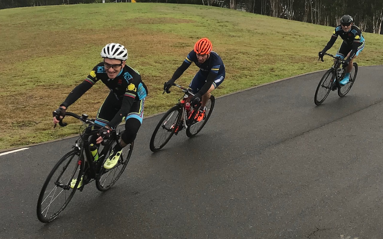 Metropolitan Championships @ Penrith Lakes @ 6 July - With French tv motorbikes soon to arrive the  French Housewives Favourite  (that will be Eric Dole) leads the M6 peloton from Dom Zumbo (third wheel)
